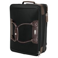 315815269-184 - Terni Brown Leather/Black Twill Nylon Trolley Bag - thumbnail