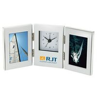 "702163184-184 - Brushed Aluminum Photo Frame w/ Analog Clock (Holds 2 2""x3"" Photos) - thumbnail"