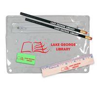 """342135349-819 - Premium Translucent Pouch School Kit w/ 2 Pencils, 6"""" Ruler & Eraser - thumbnail"""