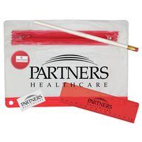 352135319-819 - Clear Translucent Pouch School Kit w/ Pencil, Ruler, Eraser & Sharpener - thumbnail