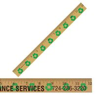 "383725062-819 - 12"" Clear Lacquer Wood Ruler w/ Recycling Background - thumbnail"