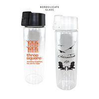515816554-819 - 20 oz. Durable Clear Glass Bottle with Flip Top Lid - thumbnail