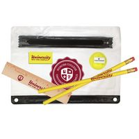 "931071226-819 - Clear Translucent Pouch School Kit (2 Pencils, 6"" Ruler, Eraser, Sharpener) - thumbnail"