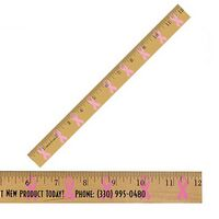 "953725056-819 - 12"" Clear Lacquer Wood Ruler w/ Ribbon Background - thumbnail"