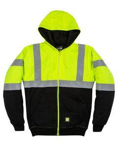 386342537-132 - Berne Apparel Men's Hi-Vis Class 3 Color Block Hooded Sweatshirt - thumbnail