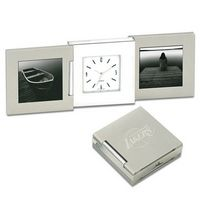 53941504-114 - Tri-Beca Fold Up Desk Clock w/ Two End Frame - thumbnail
