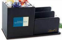 315554507-105 - Leatherette Desk Organizer W/14 Lindor Chocolate Balls - thumbnail