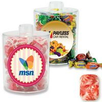 565554451-105 - Acrylic Snack Jar Container Filled w/ Wrapped Starlight Mint - thumbnail