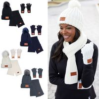 396395879-159 - Leeman™ 3 Pc. Rib Knit Fur Pom Winter Set - thumbnail