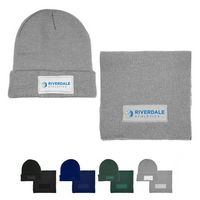 516354420-159 - Acrylic Knit Beanie & Scarf w/Patch Combo - thumbnail
