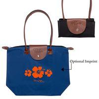 935710164-159 - Folding Tote Bag w/Leather Flap Closure - thumbnail