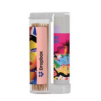 325908191-190 - Wooden Toothpicks in a Rectangular Flip-Top Duo w/ SPF 15 Lip Balm - thumbnail