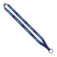 "364291316-190 - 1/2"" Polyester Dye Sublimated Sewn Lanyard with Black Metal Split Ring - thumbnail"