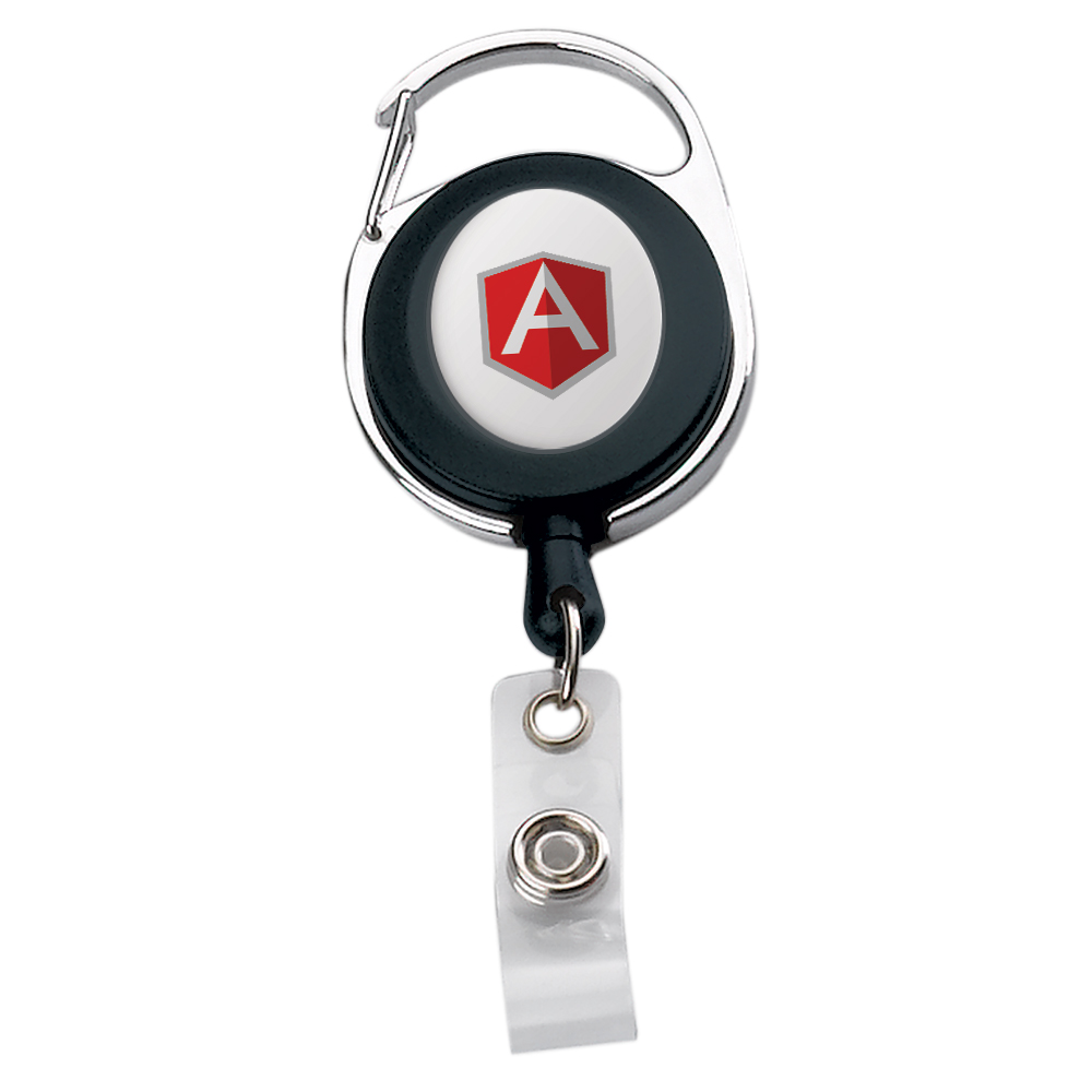 394292717-190 - Oval Metal/ Plastic Carabiner Retractable Badge Reel - thumbnail