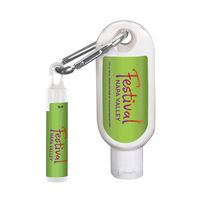 735003003-190 - 1.9 Oz. SPF 50 Sunscreen with Carabiner and SPF 15 Lip Balm in Tube with Hook Cap - thumbnail