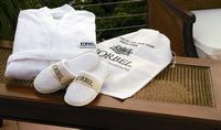 712601427-173 - Cobblestone Mills Kimono Style Robe & Slippers Gift Set w/Ribbon, Card & Travel Bag - thumbnail