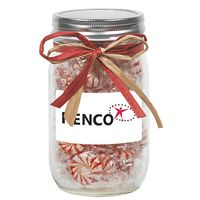 105182497-153 - 16 Oz. Glass Mason Jar w/ Raffia Bow (Starlight Mints) - thumbnail