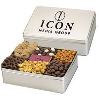 384166215-153 - 6 Way Deluxe Gift Tin with Chocolate Bar - Delectable Snack Selection - thumbnail
