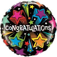 "325909280-157 - 18"" Round Stock Microfoil Balloon-CONGRATULATIONS - thumbnail"