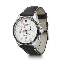 596226374-174 - Chrono White Dial Black Leather Strap Watch - thumbnail