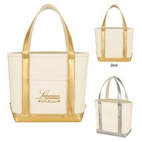 115814870-816 - Metallic Accent Heavy Cotton Canvas Boat Tote Bag - thumbnail