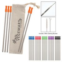 186131560-816 - 5-Pack Stainless Straw Kit with Cotton Pouch - thumbnail