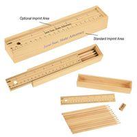 395119853-816 - 12-Piece Colored Pencil Set In Wooden Ruler Box - thumbnail
