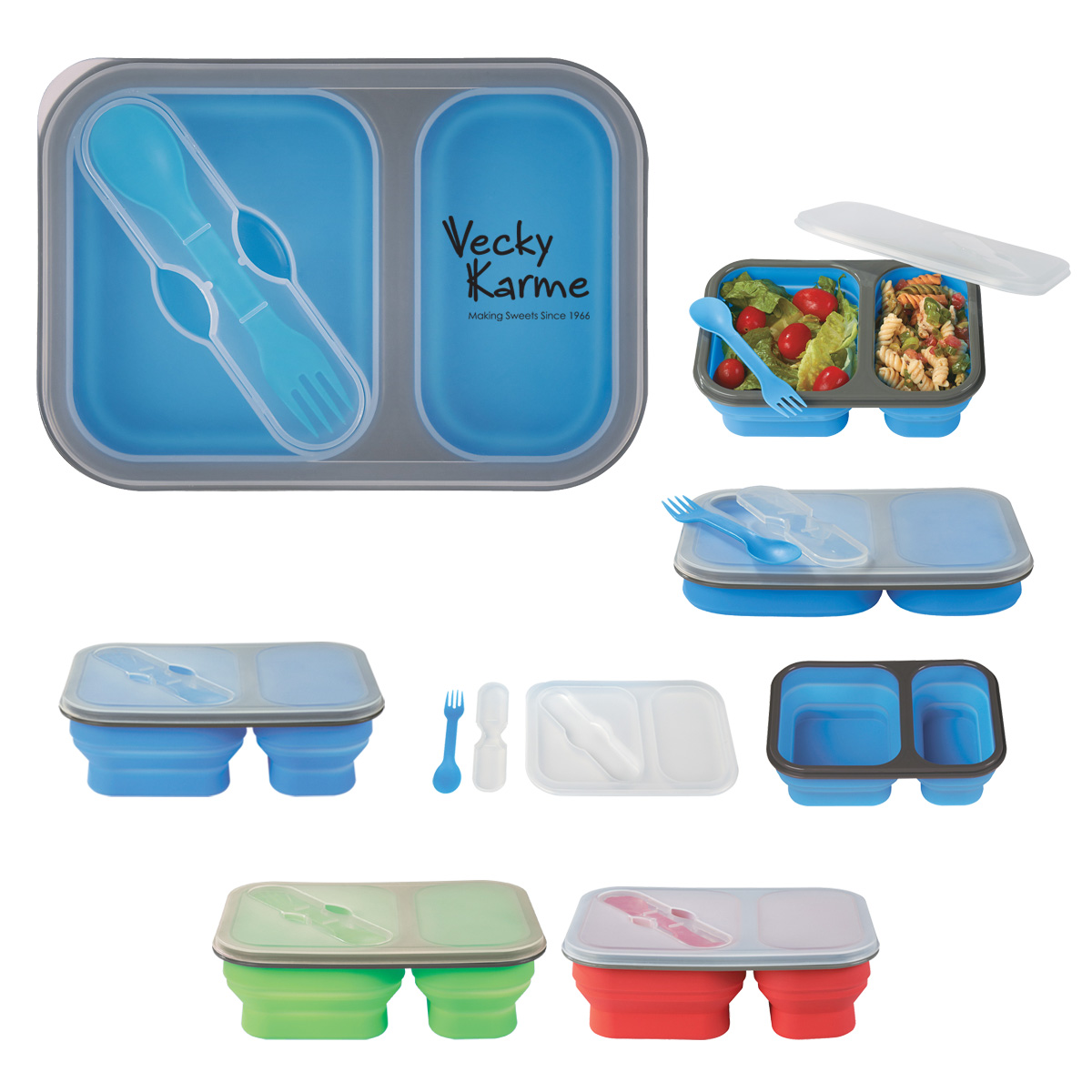 574254457-816 - Collapsible 2-Section Food Container With Dual Utensil - thumbnail