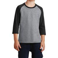 735339713-816 - Port & Company® Youth Core Blend 3/4-Sleeve Raglan Tee - thumbnail