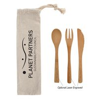 766057676-816 - 3 Piece Bamboo Utensil Set In Travel Pouch - thumbnail