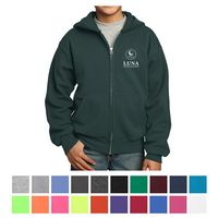 775355033-816 - Port & Company® Youth Core Fleece Full-Zip Hooded Sweatshirt - thumbnail