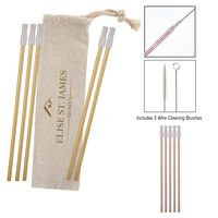 786131564-816 - 5- Pack Park Avenue Stainless Straw Kit with Cotton Pouch - thumbnail