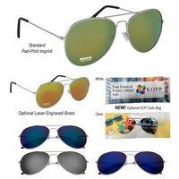904970837-816 - Color Mirrored Aviator Sunglasses - thumbnail