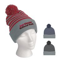 995760481-816 - Polar Stripe Pom Beanie With Cuff - thumbnail
