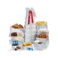 355774560-112 - Shimmering Office Party Treats Gourmet Tower - Silver Diamond Pattern - thumbnail