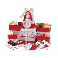 586283036-112 - Best of the Season Gourmet Sweets & Treats Tower - Red-Silver Pattern - thumbnail