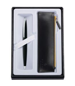 115514409-126 - ATX® Basalt Black Ballpoint Pen w/Classic Black ZIP Pouch - thumbnail