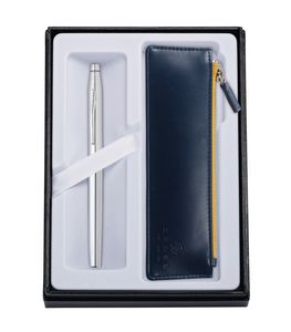 315514407-126 - Century® Chrome Rollerball Pen w/Midnight Blue ZIP Pouch - thumbnail