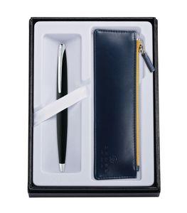 545514410-126 - ATX Basalt Black Ballpoint Pen w/ Midnight Blue ZIP Pouch - thumbnail