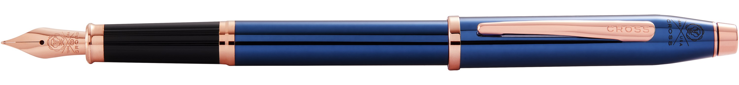 546442842-126 - Century II Translucent Cobalt Blue Lacquer w/ Rose Gold PVD Nib & Appointments Med. Fountain Pen - thumbnail