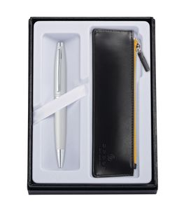 715514403-126 - Calais Satin Chrome Ballpoint Pen w/ Classic Black ZIP Pouch - thumbnail