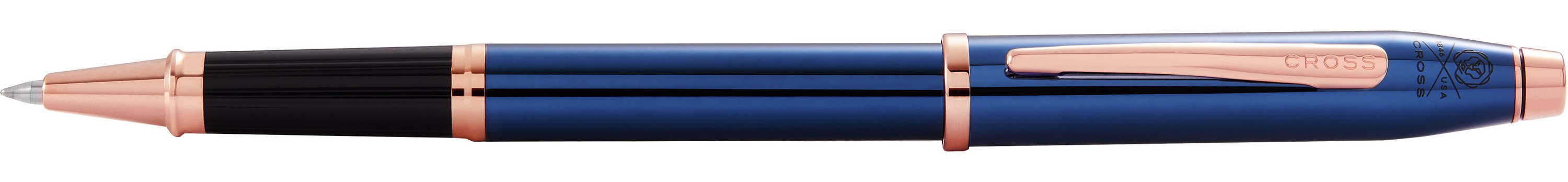 746442840-126 - Century II Translucent Cobalt Blue Lacquer with Rose Gold PVD Rollerball Pen - thumbnail