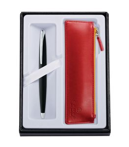945514411-126 - ATX Basalt Black Ballpoint Pen w/ Crimson ZIP Pouch - thumbnail