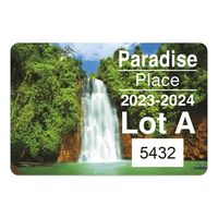 """145932492-183 - Rectangle White Vinyl Full Color Numbered Outside Parking Permit Decal (2""""x3 1/2"""") - thumbnail"""