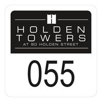 """345932490-183 - Square White Vinyl Numbered Outside Parking Permit Decal (1 3/4""""x1 3/4"""") - thumbnail"""