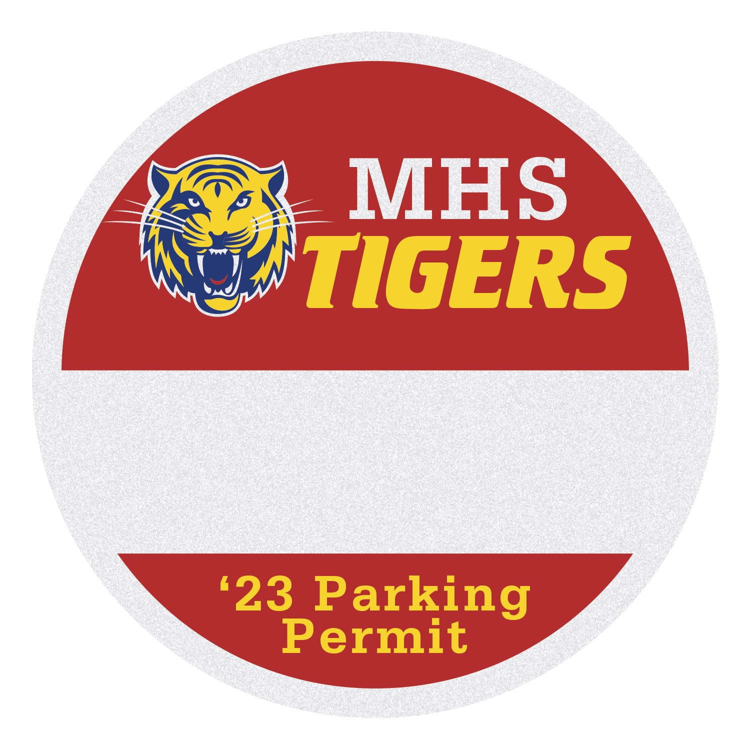 "385489559-183 - Round White Reflective Outside Parking Permit Decal (2 1/2"" Diameter) - thumbnail"