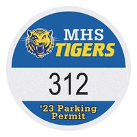 """515932483-183 - Round White Reflective Numbered Outside Parking Permit Decal (2 1/2"""" Diameter) - thumbnail"""