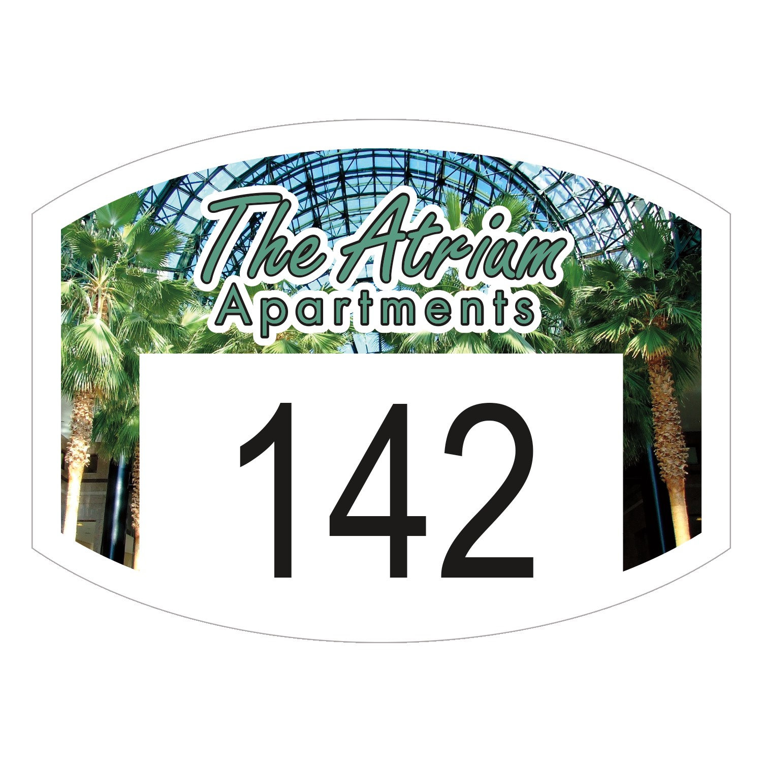 "545932498-183 - Curved Rectangle White Vinyl Full Color Numbered Outside Parking Permit Decal (1 1/2""x2"") - thumbnail"