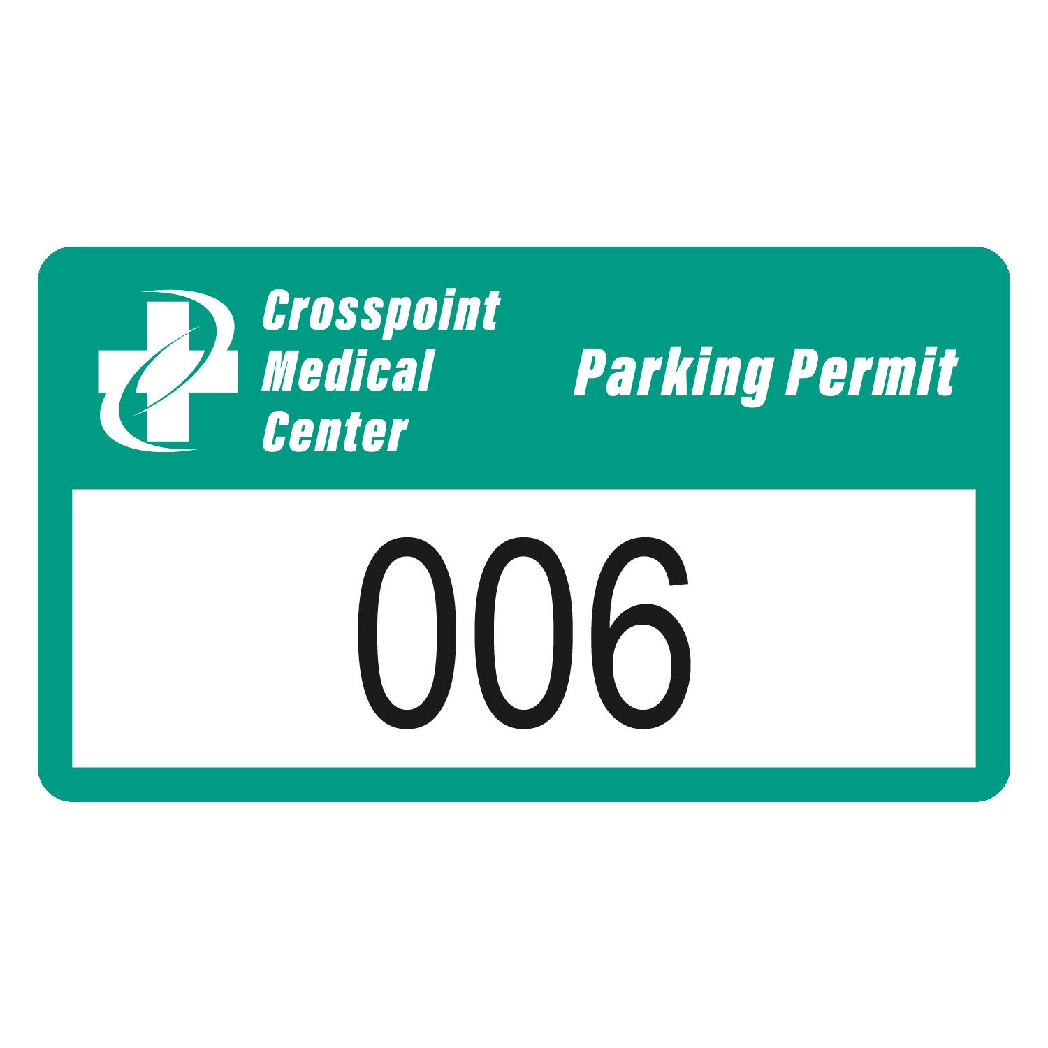 "585489552-183 - Rectangle White Reflective Outside Parking Permit Decal (2""x3 1/2"") - thumbnail"