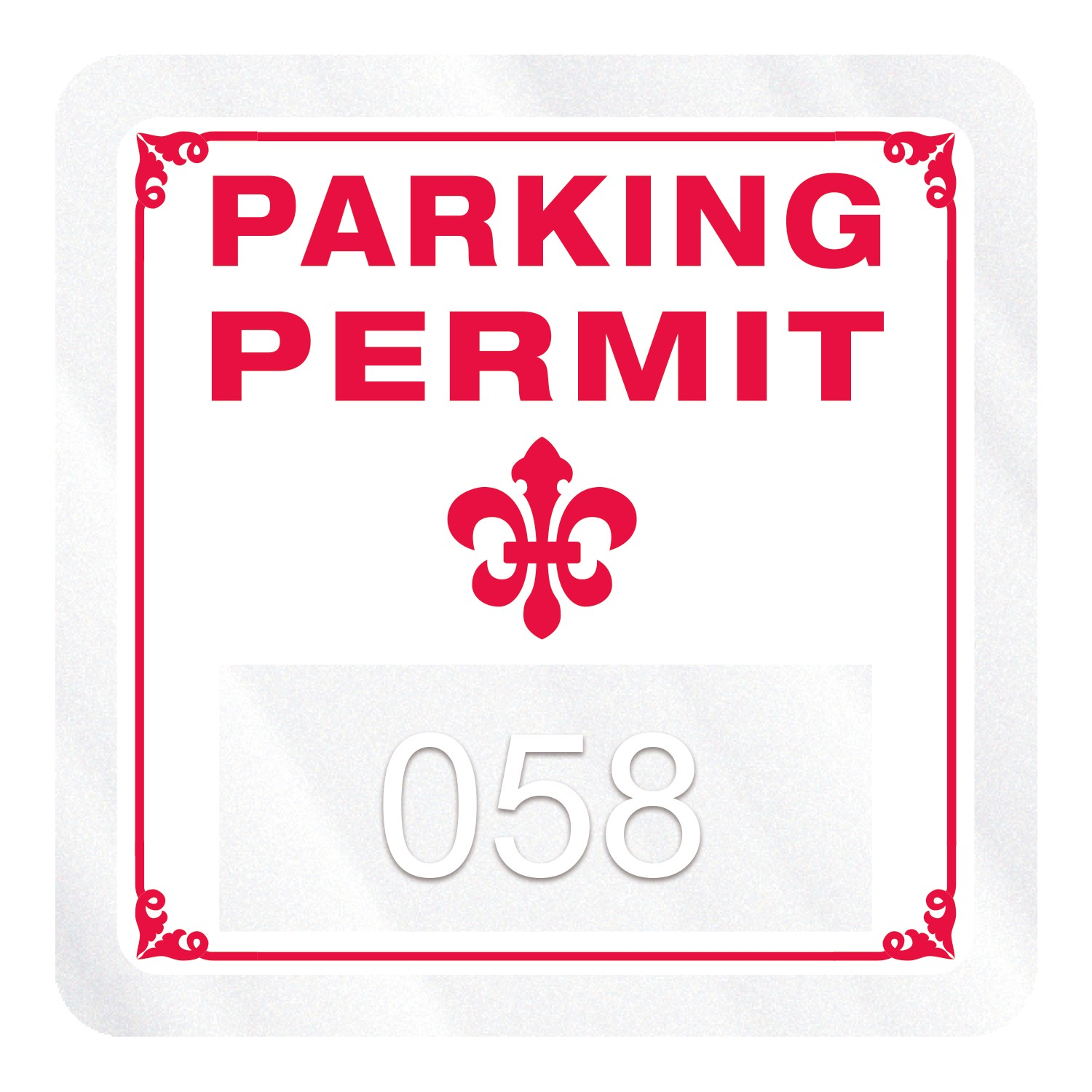 "585932473-183 - Square Clear Static Numbered Inside Parking Permit Decal (1 3/4""x1 3/4"") - thumbnail"